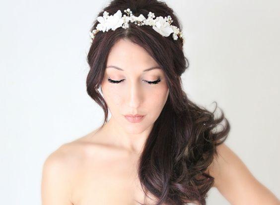 Wedding Flower Crown, Crystals and Pearls, Bridal Tiara,  Hair Flower Soft White Bridal Tiara - ISLA. $100.00, via Etsy.