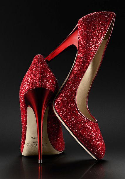 Jimmy Choo Red glitter wedding shoes www.MadamPaloozaEmporium.com…