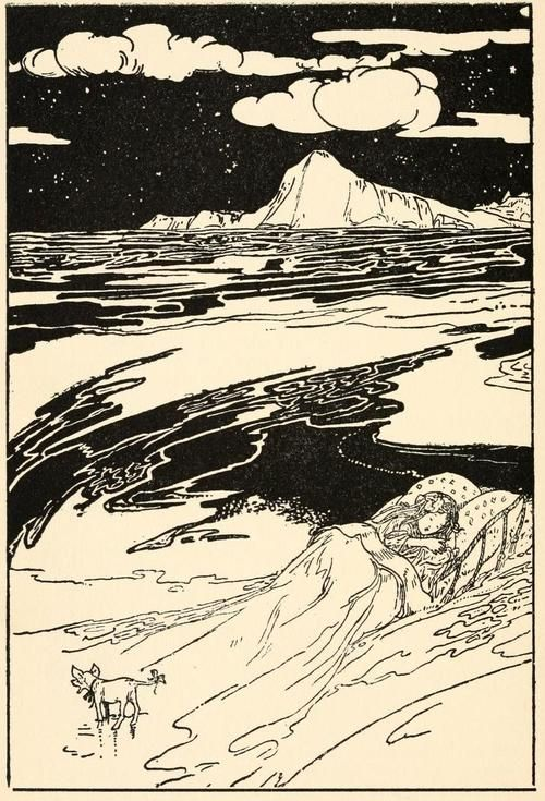 venusmilk:    The Reign of King Oberon, 1902Illustrations by Charles Robinson  They lifted her up, feather bed, mattress, sheets, coverlet, and all, and threw them into the sea, the Princess all the while so fast asleep, that she never woke.