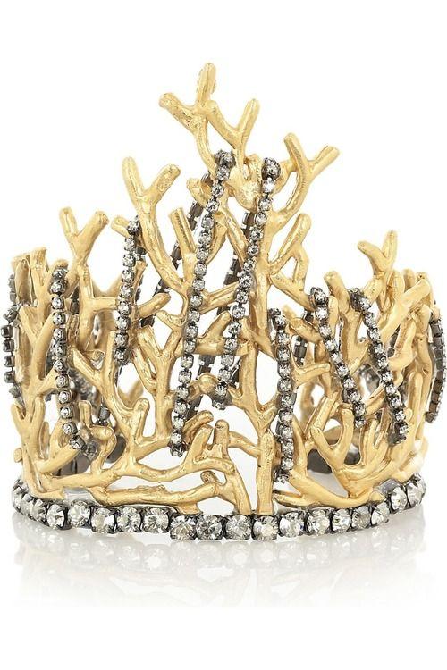 Valentino Gold-tone brass coral cuff