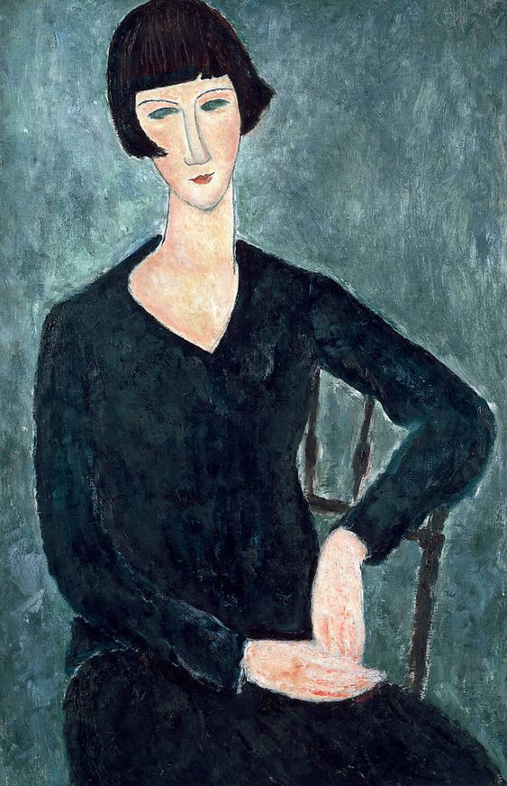 Amedeo Modigliani (Italian, 1884-1920) - Seated Woman in Blue Dress, 1918. Oil on canvas. Thank you, amare-habeo.