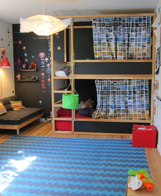 Double KURA bunks with chalkboard paint sides. mommo design: KURA BED MAKEOVER: