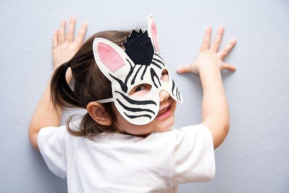 Zebra Kids Animal Mask Children Carnival Mask by BHBKidstyle, €12.00