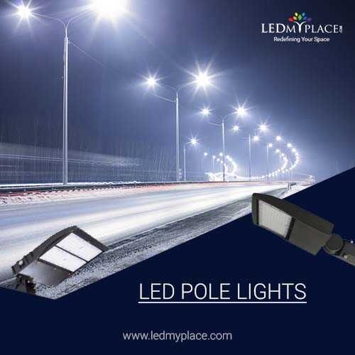Install Led Pole Light For Outdoor Commercial Places Outdoor Lighting Lights Cool Lighting