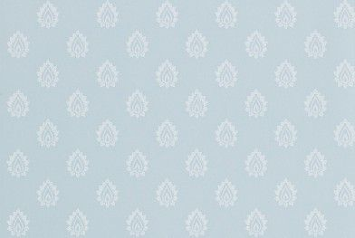 Florrie Wedgwood (214058) - Sanderson Wallpapers - A smart, small-scale stamp motif reminiscent of hand-blocked wallpaper, printed onto a chalky, matt background.  Shown in the soft Wedgwood blue colourway.  Please request sample for true colour match. Pattern repeat 8.7cm Paste the wall.