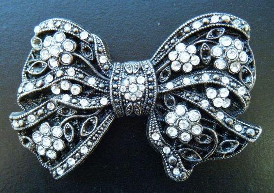 Black White Rhinestone Classy Bow Tie Bowtie Neck Party Belt Buckle #CoolBuckles