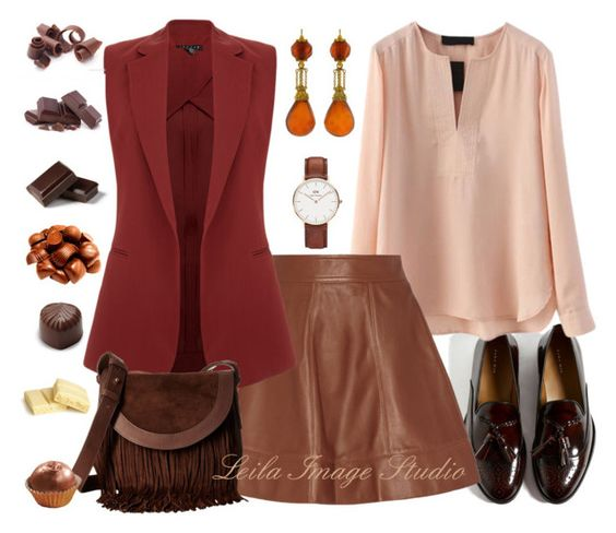 """""""Chocolate"""" by leila-image-style ❤ liked on Polyvore featuring Michael Kors, Theory, Frye, Daniel Wellington, Lab, Wilton, chocolate, brown and MINISKIRT"""