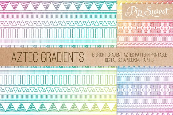 Aztec Gradient 16 Pattern Set by Pip Sweet on Creative Market