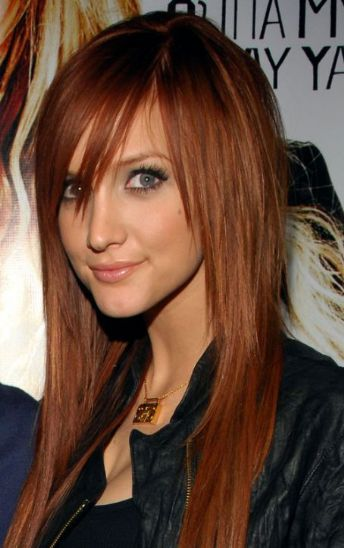 Red hair bangs to the side