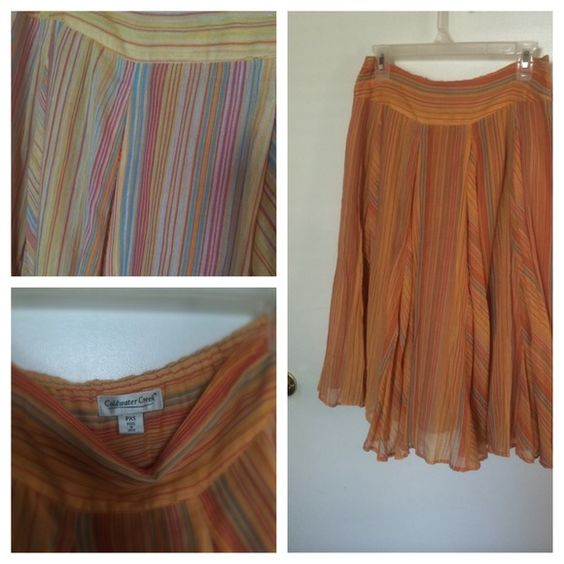 FREE GIFT Colorful striped skirt w $20+ purchase Calf length Caribbean colors lightweight fabric flowy Coldwater Creek Skirts