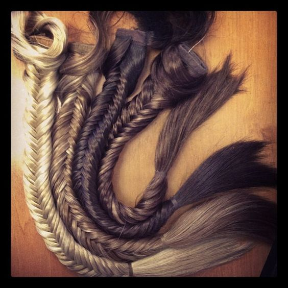 Fishtail Plaits left to right, Creamy Twist, Strawberry Twist, Cappuccino and Auburn Twist. www.hothair.co.uk...