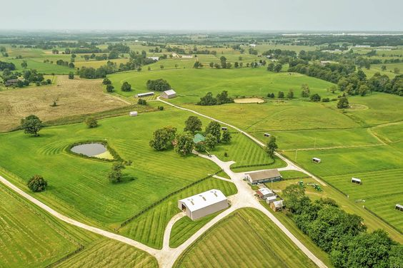 Equestrian Estate For Sale in Scott County , Kentucky, Located just 12 miles from the Kentucky Horse Park, this stunning farm includes 3 barns with 28 stalls, premier indoor (100 x 200) and outdoor arena, cross-country obstacle, extensive mowed trails, well drained, tillable soil. This land is part of a North American Land Trust conservation easement which limits development and preserves the farm for agriculture and wild life.