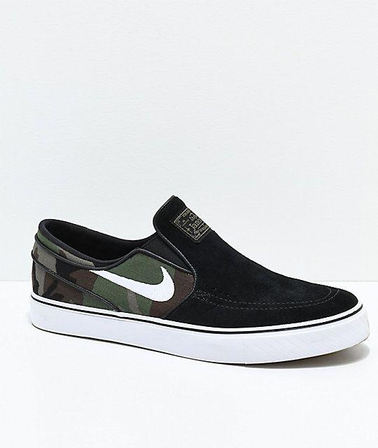 Nike SB Janoski Black & Camo Slip-On Skate Shoes | Nike sb janoski ...