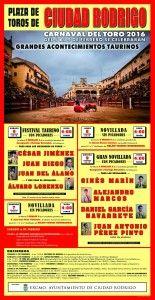 Cartel de los festejos mayores del Carnaval del Toro 2016.