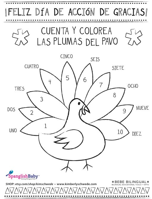 Spanish Thanksgiving Printables - Coloring Pages with Vocabulary ...