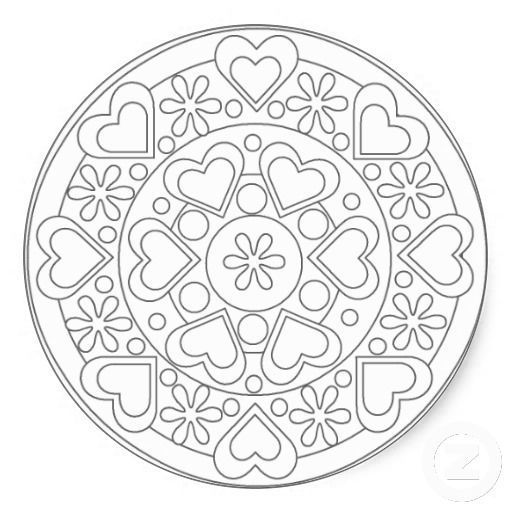 Coloring In Hearts And Flowers Mandala Sticker Zazzle Com