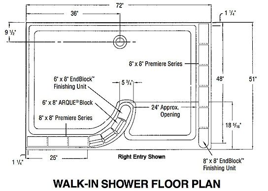 Glass Block Shower Walk In Floor Plan Bathroom Remodel