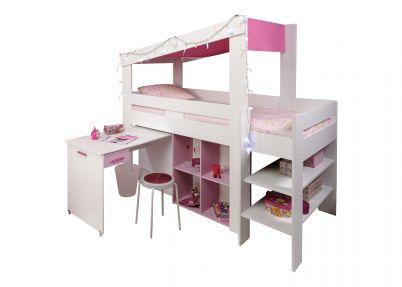 Halfhoogslaper 'Cottage' met bureau | Wit en roze | Biotiful | Halfhoogslapers en hoogslapers