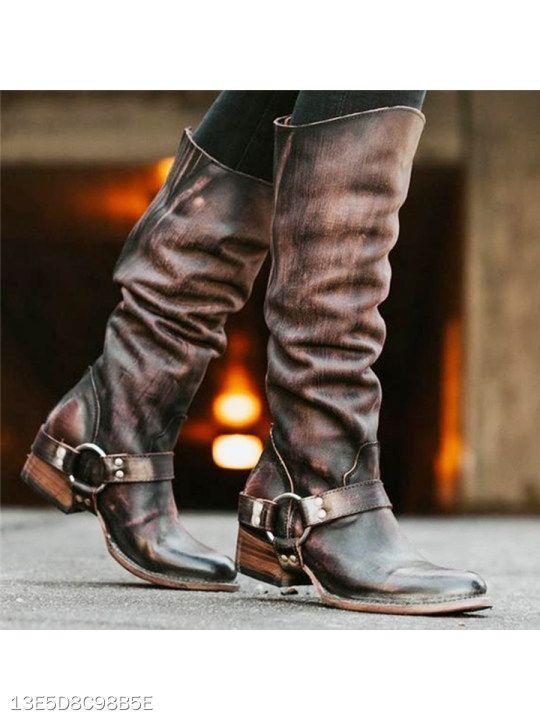 Details about  /Retro Women/'s Block Heel Round Toe Buckle Knee High Boots Outdoor Winter Warm D