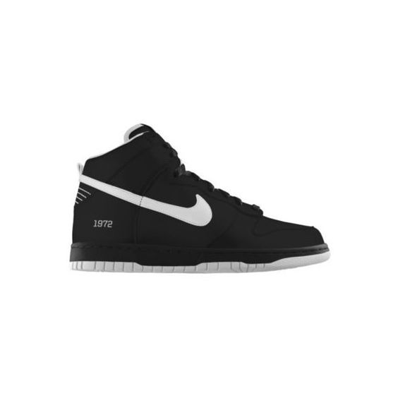 Nike Dunk High iD Custom Women's Shoes - Black, 11.5 ($135) ❤ liked on Polyvore