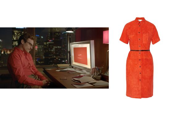 Joaquin Phoenix in Her Victoria, Victoria Beckham suede shirtdress, $1,850; net-a-porter.com - Photo: (From left) Courtesy of Everett Collection; Courtesy of net-a-porter.com