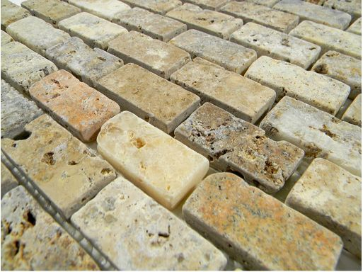 Tuscany scabas 1 x 2 tumbled brick pattern glass tile for Tumbled glass tile