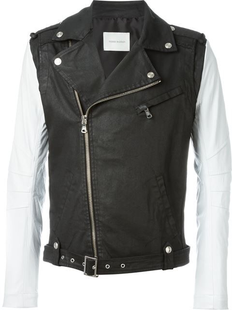 PIERRE BALMAIN Contrast Sleeve Biker Jacket. #pierrebalmain #cloth #jacket