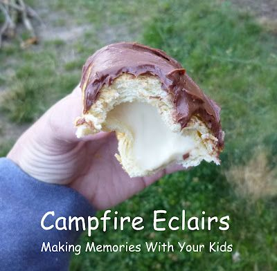 Campfire Eclairs - Saving this for next camping trip!: Campfire Food, Campfire Eclairs, Camping Recipe, Camping Food, Camp Food, Camping Outdoor, Camping Ideas, Fire Pit