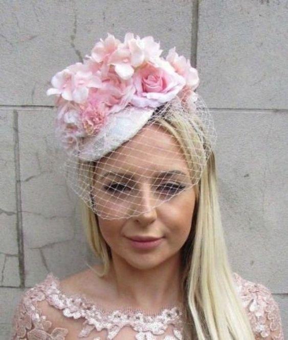 Blush Dusky Dusty Rose Flower Net Fascinator Hair Headband Races Teardrop 5026