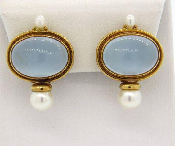 Elizabeth Gage Milky Aquamarine Pearl 18K Yellow Gold Earrings | eBay