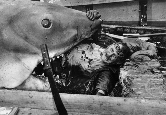 bruce eating robert shaw for lunch on the set of jaws