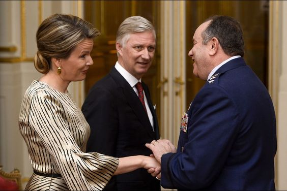 Queen Mathilde of Belgium and King Philippe of Belgium attended the new year reception held for representatives of SHAPE and NATO at the Royal Palace on January 14, 2016 in Brussels.