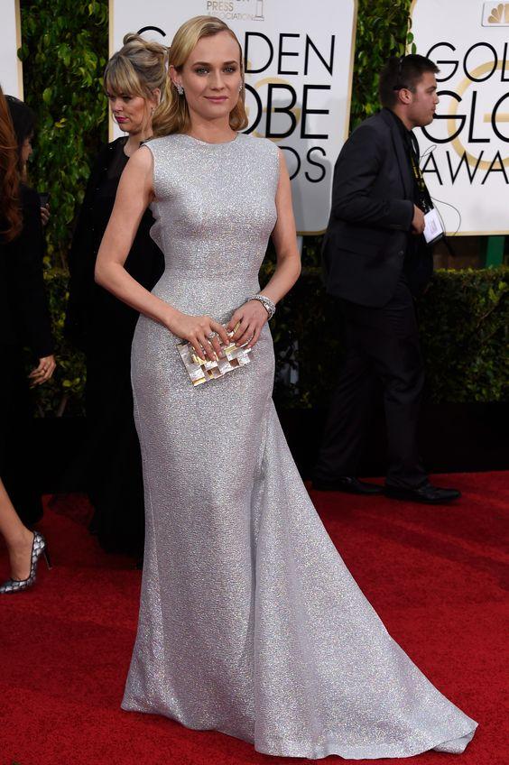 Golden Globes 2015 - Diane Kruger in gorgeous metallic Emilia Wickstead  ELLE.com
