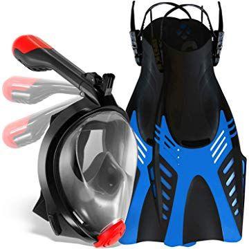 "Blue Cressi Palau Snorkeling Packages Mask Fin Set With Gear Bag M//L Men/'s /"""