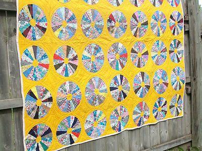 Excellent Vtg Antique Quilt~Dresden Plate~Feedsack Fabric~Hand Stitched~75 X 68 | eBay