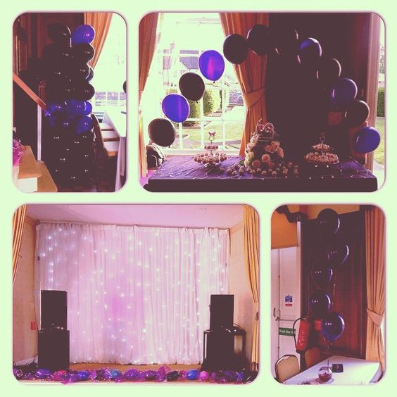 #nicheevents #balloons #balloonarch #balloondecor #birthdayballoons #amesbury #birthdayparty #starlightbackdrop #purpleballoons #blackballoons #moodlights #uplighters