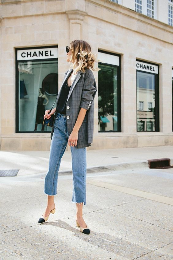 plaid blazer street style trend style outfit 2017 accessories denim1