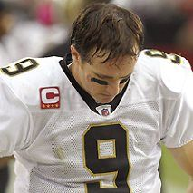 Drew Brees (QB), looking down for the Saints in Week 4 of the 2012 season and left without a win.