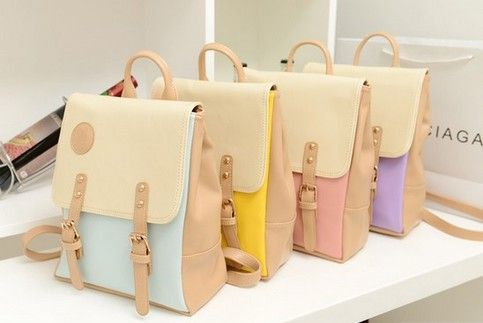 Measurement - 25cm  *30cm   *12cm  Good for use as a school bag, fit an ipad and some school books  4 colors to choose from: Pastel Blue, Pastel Pink Pastel Lavender and Yellow  $9 shipping with tracking to anywhere in the world, i ship the item 3 days after order received