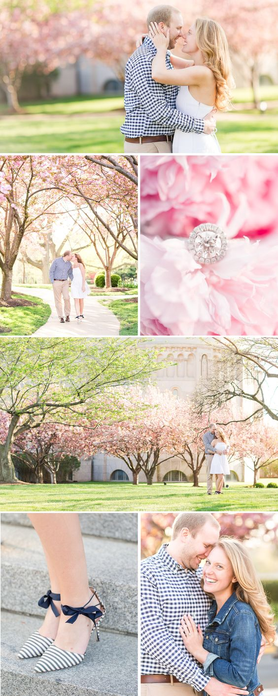 Cherry Blossom Spring Engagement Session at the Catholic University of America | by Katelyn James Photography