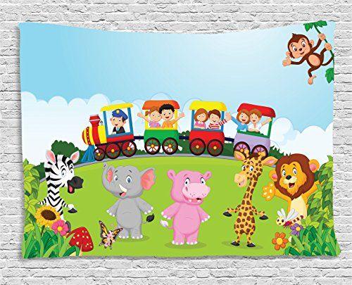 Cartoon Tapestry By Ambesonne Kids Nursery Design Happy Children