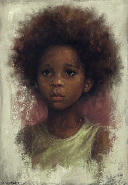 """Quvenzhané Wallis Study"" - Sam Spratt {contemporary artist figurative beautiful female african-american black girl #naturalhair afro child actress portrait painting} <3 Adorable !!:"