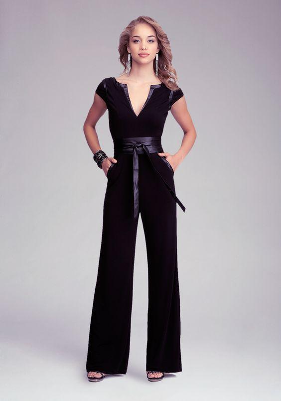 Bebe Wrap Belt Knit Jumpsuit Jumpsuits Rompers
