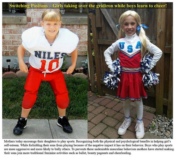 Young boy's dreams: being a cheerleader for a Girls/Women Sports Team