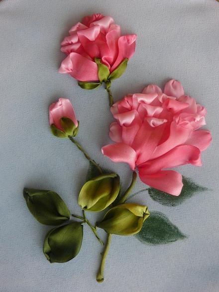 Ribbon embroidery designs silk flower