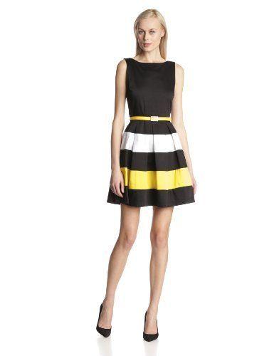 Black dress with yellow belt