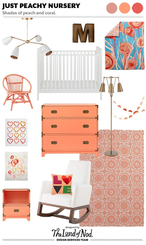 Peach is such a happy, warm color, and when used in a girl's nursery, replaces your standard pink as a fresh, updated version of that color.