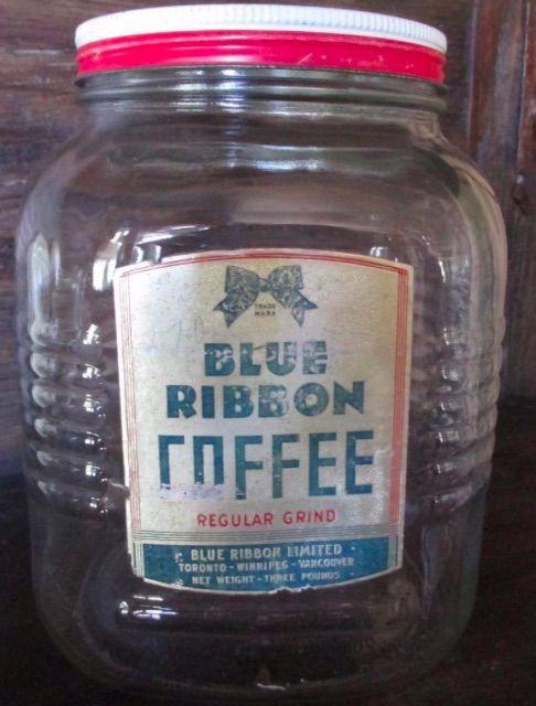 Blue Ribbon Coffee Jar Antique Coffee Grinder Coffee Jars Food Jar