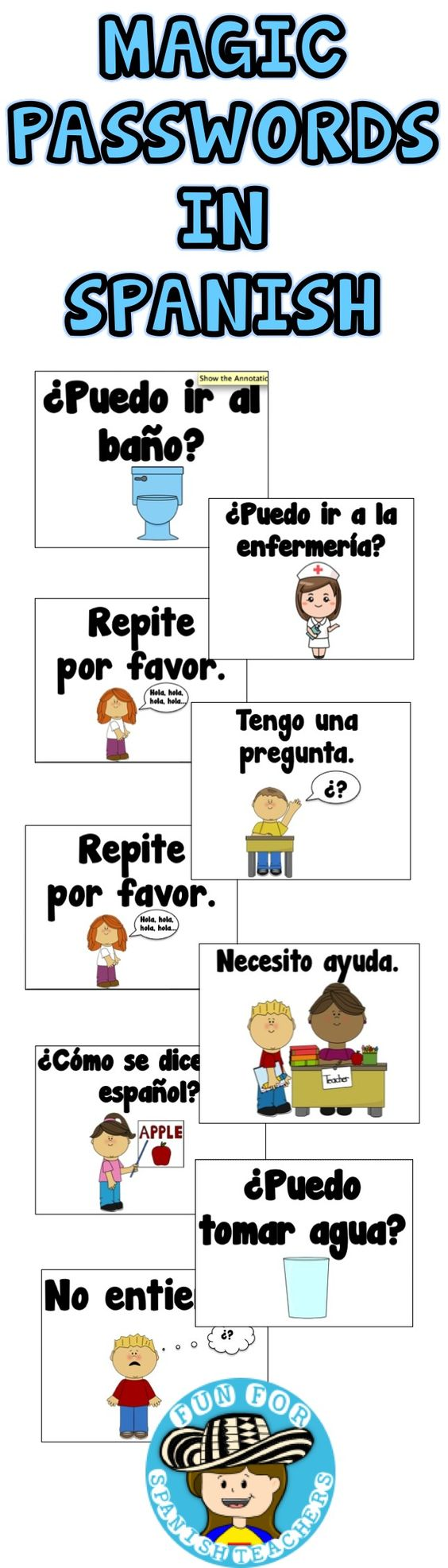 Free cards to help students remember magic passwords in Spanish!