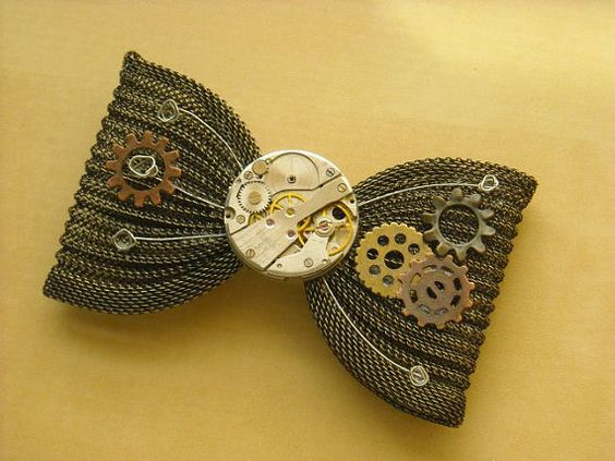 Steampunk Watch Mechanism Chain Maille Hair Bow - $45